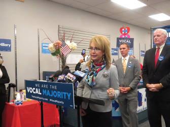Former US Rep. Gabby Giffords speaking in Milwaukee on gun violence prevention. (photo by Karen stokes)