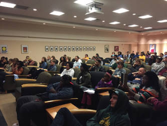 UWM Sociocultural Department hosts students and the community for the discussion. (Photo by Dylan Deprey)
