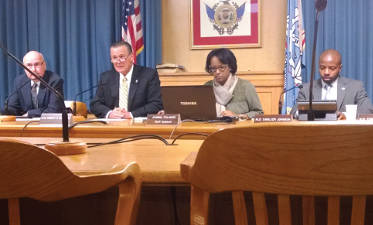 """""""The Milwaukee Common Council Public Safety Committee meets to discuss Alderman Michael Murphy's smokeless tobacco ban in Milwaukee sports venues."""" (Photo by Mrinal Gokhale)"""