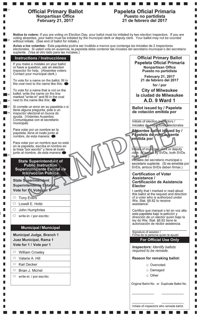 Notice of Spring Primary and Sample Ballots February 21, 2017 ...