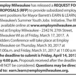 Employ Milwaukee Requesting Proposals for Providing Summer Youth Employment for Earn and Learn