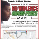No Violence Know Peace March on April 20th