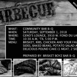 Community Bar-B-Q at Geno's Lounge on Sept 1st – Proceeds Benefit Eric Von Broadcast Scholarship