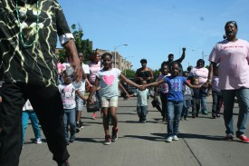 "Children joined the march, part of a ""20 weeks, 20 blocks"" campaign against violence in the black community."