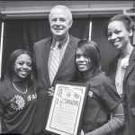 Mayor Barrett and students