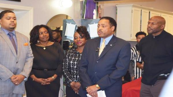 Milwaukee County Board Supervisor Willie C. Wade (second from right) announced his intention not to run for a fifth term as Alderman for the 7th District at a press conference in his district on Tuesday, December 1, 2015. Pictured at the press conference (from left) are County Supervisor Khalif Rainey,  Legislative Aide Debra Orah Moore, Alderman Wade's wife Lizzette, and cousin Mark Wade.
