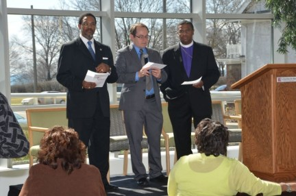 At the Church Wellness celebration at Columbia St. Mary's Hospital on Saturday morning, April 20, 2013, The General Baptist State Convention of Wisconsin, Inc., President Rev. Garry Levy, Columbia St. Mary's Representative Bill Solberg and Bishop C. H. McClelland from Holy Cathedral COGIC, are preparing to sign a covenant of participation with the Urban Church Wellness Program.