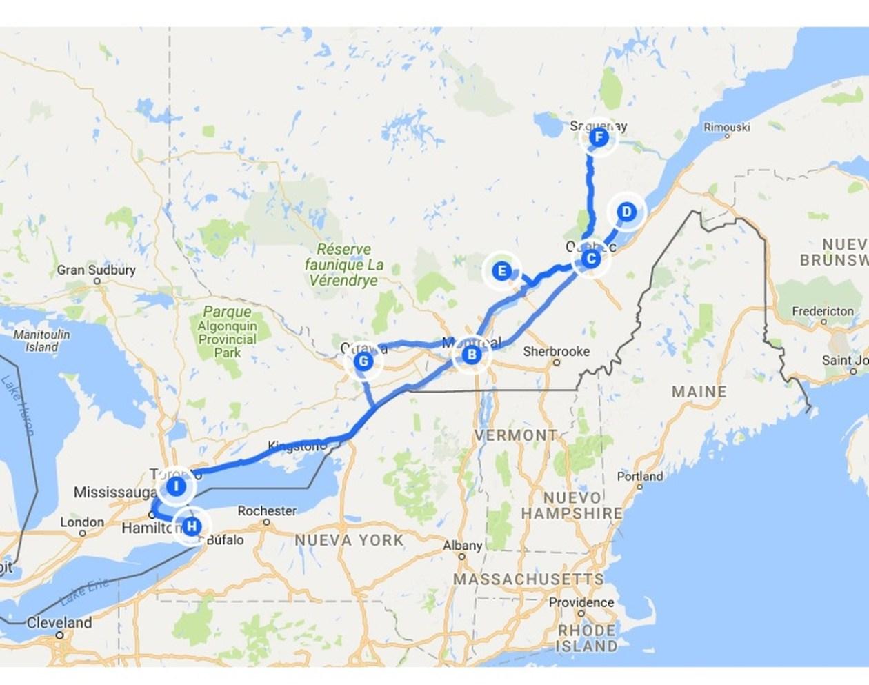 Ruta Canadá Costa Este