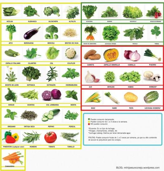 clasificación de frutas y verduras en la dieta