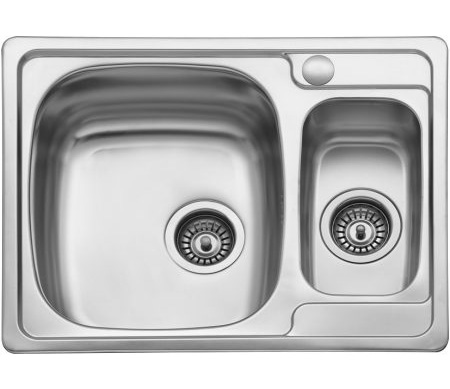 Dvodelna ugradna sudopera izradena od nerdajuceg plemenitog celika.