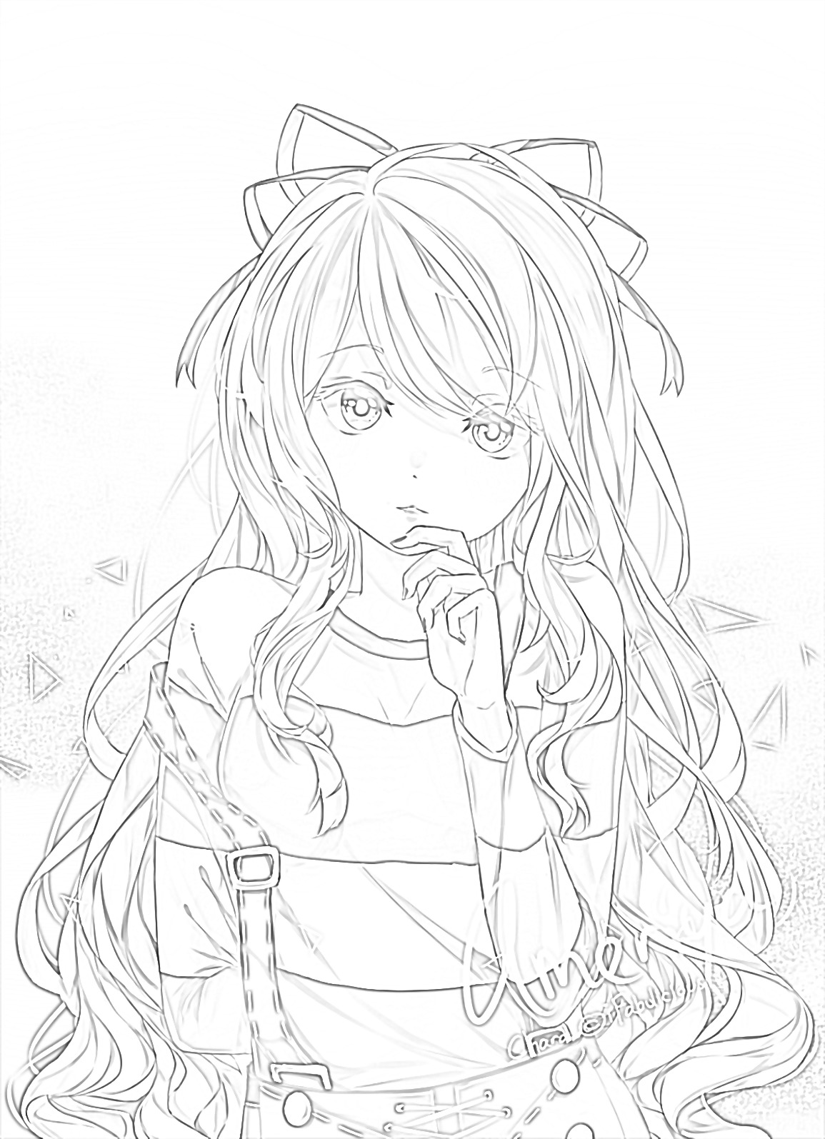 Anime Girl Kawaii Coloring Pages Novocom Top