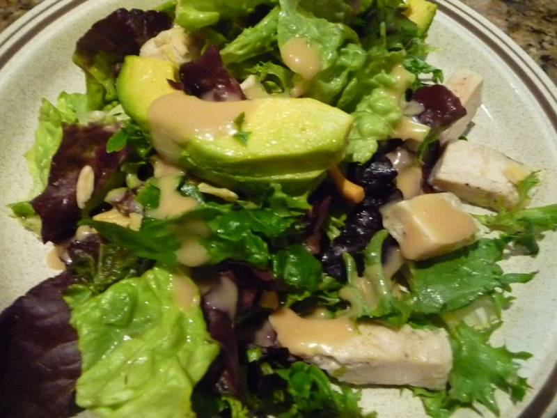 Chinese chicken salad with avocado slices