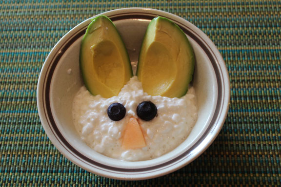 cottage cheese and avocado bunny