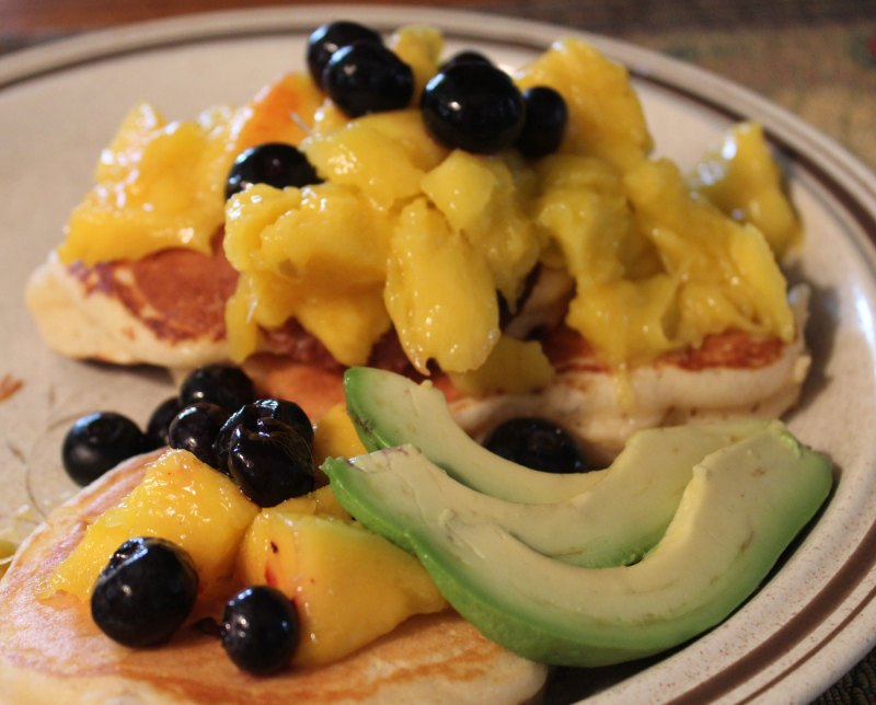 Mango and Blueberry Pancakes with avocado