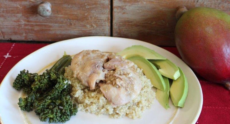 mango chicken with quinoa, avocado and brocollini