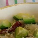 avocado on top of quinoa chicken salad