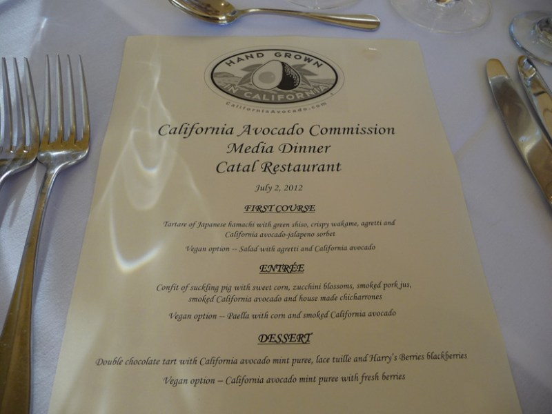 menu Californa avocado dinner