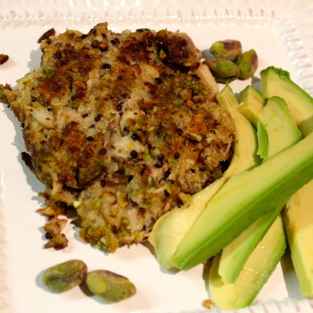 Pistachio-Crusted Crab Cakes with Quinoa