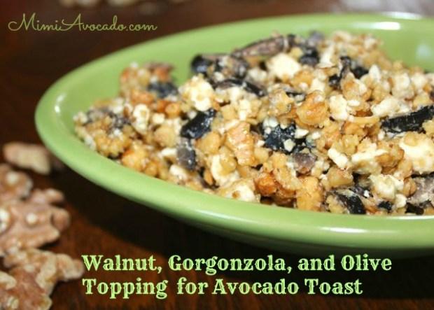 Walnut-Gorgonzola-Ripe Olive-Topping