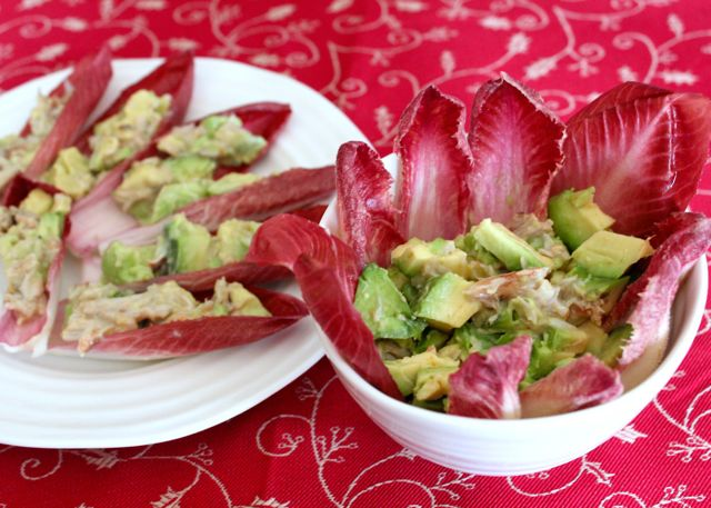 avocado and crabmeat with endive