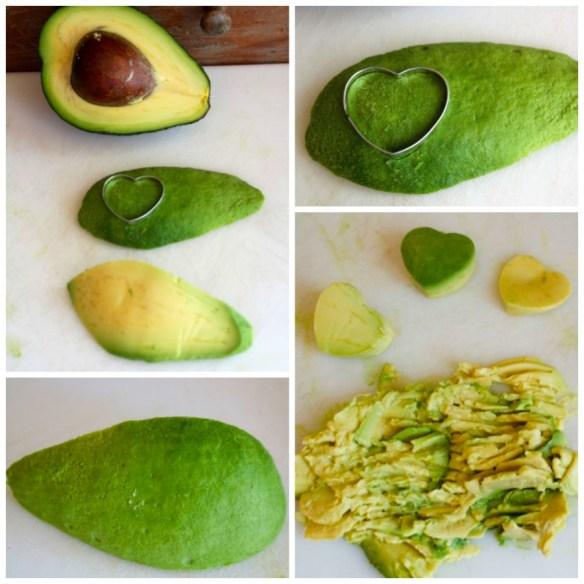 making avocado hearts