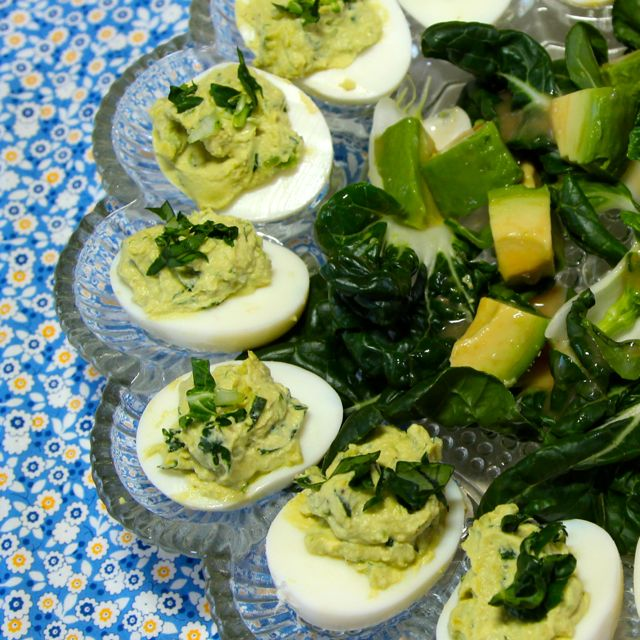 deviled eggs on blue