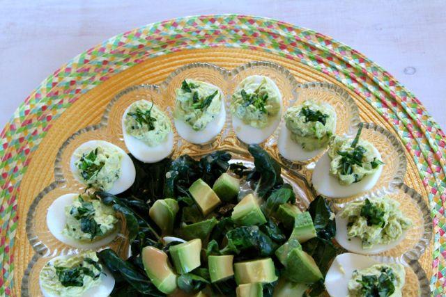 platter of deviled eggs