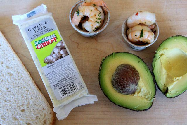 cheese, avocado, shrimp