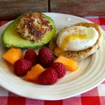 crab-cake stuffed avocado and poached egg