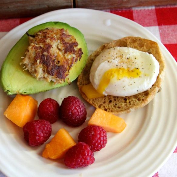 poached egg with avocado and crab cake