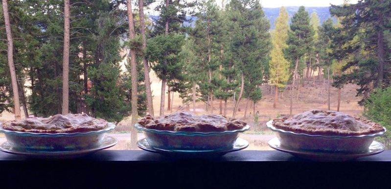 three apple pies