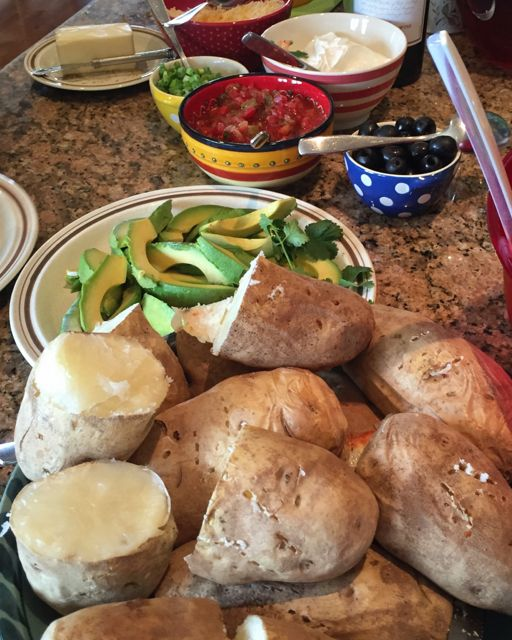 Baked Idaho potatoes with all the fixings for Mother's Day
