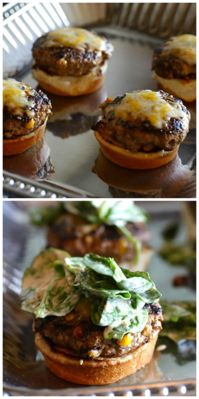 Lamb Sliders topped with Spinach