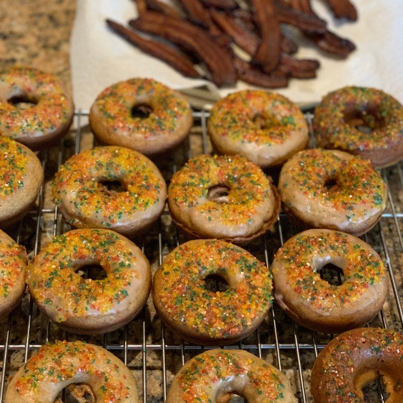 Banana Cinnamon Baked Donuts with Coconut Glaze