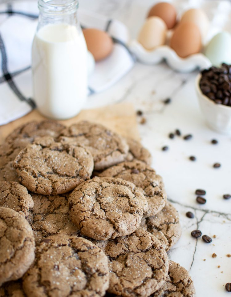Easy recipe for soft and chewy Sea Salt Espresso Chocolate Chip Cookies! Add these yummy coffee inspired cookies to your holiday baking list this year. Delicious classic chocolate chip cookies with espresso and sea salt #cookies #organic #organiccookies #espresso #chocolatechip #espressochocolatechip #seasalt #sweetandsalty #sweetandsaltycookies