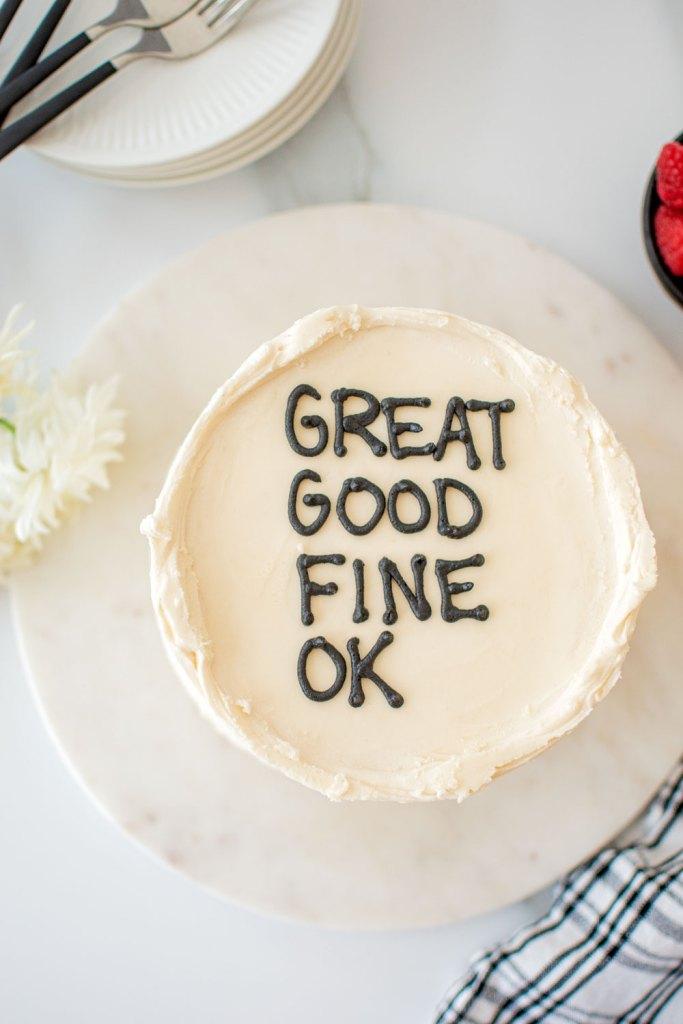 Grat Good Fine OK interview along with Jon Sandler's favorite cake recipe. Easy and delicious Banana Raspberry Cake. High altitude Banana Raspberry Cake. The best moist and fluffy banana cake with raspberry filling and vanilla buttercream frosting. Easy and simple banana layer cake recipe. The best banana layer cake recipe with vanilla buttercream frosting. #organiccake #cake #layercake #bananacake #bananaraspberrycake #raspberrycake #raspberryfilling #vanillabuttercream