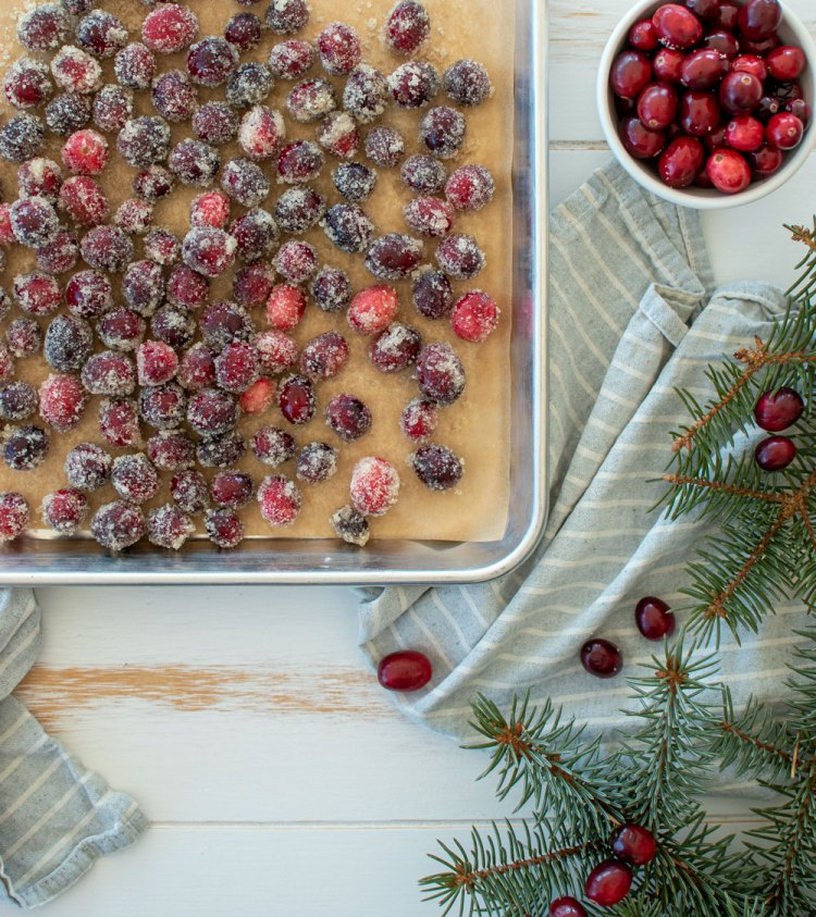 How to make easy and delicious sugared cranberries for the holidays! This easy recipe for Sugared Cranberries is a delicious holiday treat that can be added to cakes, cupcakes, cookie boxes, cheeseboards and more #sugaredcranberries #cranberries #organiccranberries #holidaysnacks #christmassnacks