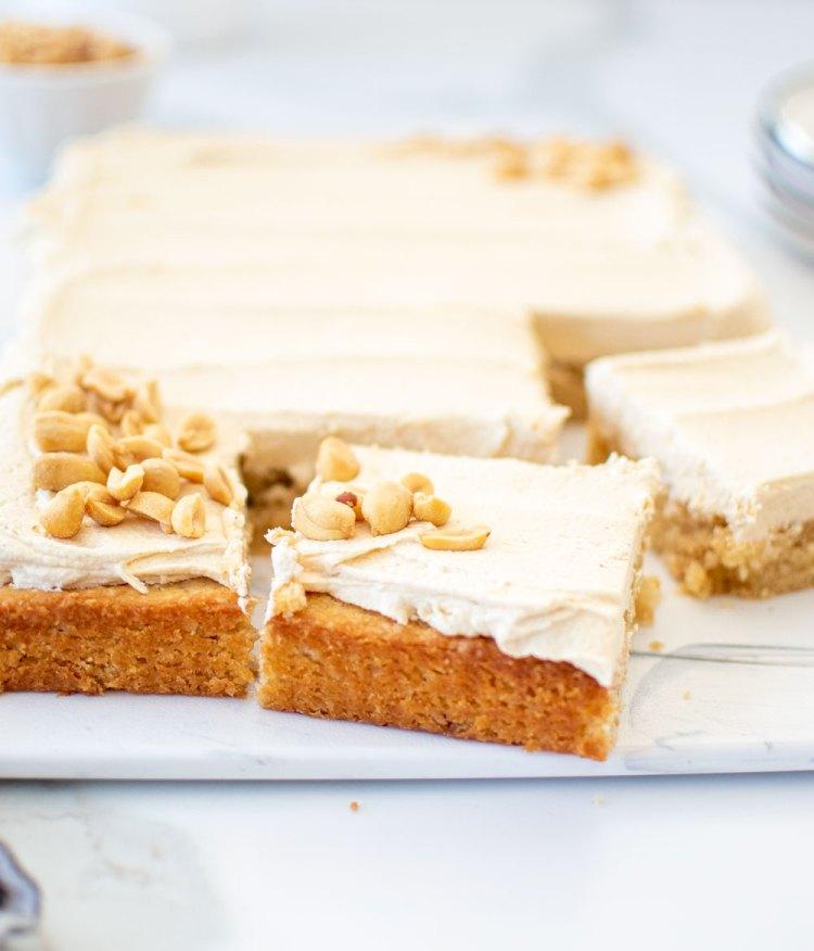 Eggless peanut butter sheet cake recipe. Easy peanut butter cake recipe. Recipe for peanut butter sheet cake. Old fashioned peanut butter sheet cake. The best eggless cake recipe. High altitude peanut butter cake recipe. High altitude sheet cake recipe. Gluten free peanut butter cake recipe. Gluten free peanut butter cake.