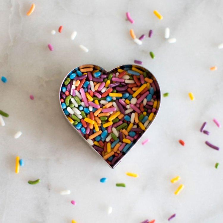 rainbow sprinkles heart, rainbow sprinkles