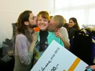 Liselore Frowijn gets kisses from her fellow students