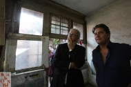 Eberhard van der Laan and Gijs Stork looking at Mimi Berlin's work in Beijing