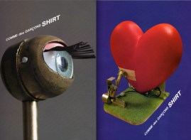 """Machine sculptures by the French artist Paul Granjon, titled """"My Little Eye,"""" and """"Heart Beat Machine."""""""