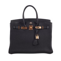 Hermes 35cm Birkin in beautiful rare BLACK TOGO with GOLD hardware. via janeFinds at 1stdibs.com