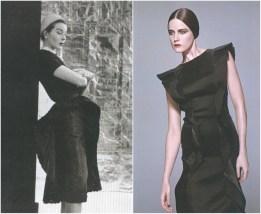 left: Schiaparelli, Vogue Paris – April 1951, photo by Henry Clarke. right: Prada F/W 2008-2009, photo by Toby McFarlan Pond.