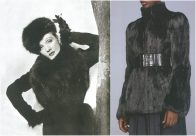 left: Schiaparelli, British Vogue – October 1936, photo of Marlene Dietrich by Cecil Beaton. right: Prada F/W 2002-2003, photo by Toby McFarlan Pond.