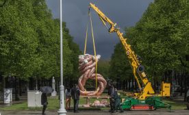 Watching the Installation of Sculptures in Amsterdam by ArtZuid