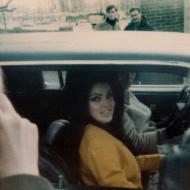priscilla presley in a car