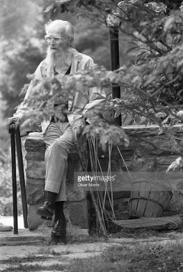 Portrait of American photographer, painter, and the museum curator Edward Steichen (1879 - 1973) in the garden of his home, Redding, Connecticut, 1972