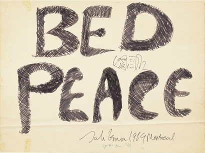 """'Peace of history: John Lennon's 'Bed Peace' art will be familiar ifyou've watched footage of his and Yoko's famous under-duvet protestsin the 1960s - this artwork is expected to bring $100,000 The felt-tip pen on foam board art's provenance goes back to John and Yoko's seven-day """"bed-in for peace"""" held in 1969.' (via justcollecting.com)"""