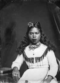 Carte de visite portrait of a Maori woman from Hawkes Bay, taken, probably in the 1870s, by Samuel Carnell of Napier.